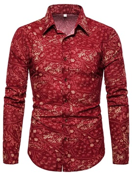 Floral Lapel Slim Fit Men's Shirt