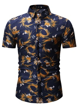 Short Sleeve Ethnic Floral Summer Men's Shirt