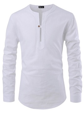 Casual Plain Button Long Sleeve Men's Shirt