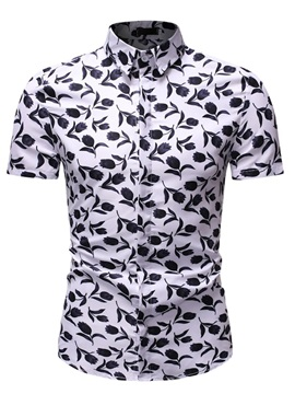Floral Button Short Sleeve Lapel Men's Shirt