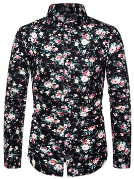 Lapel Floral Print Button Men's Shirt