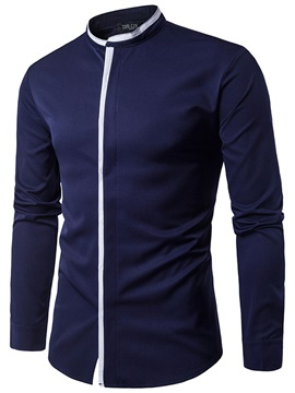 Plain Stand Collar Loose Men's Shirt