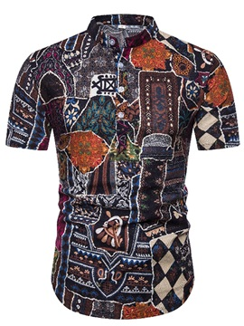 Ethnic Print Stand Collar Color Block Men's Shirt