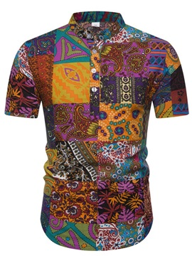 Floral Ethnic Print Stand Collar Short Sleeve Men's Shirt