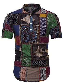 Fashion Stand Collar Color Block Patchwork Men's Shirt