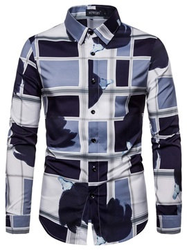 Color Block Patchwork Lapel Button Men's Shirt