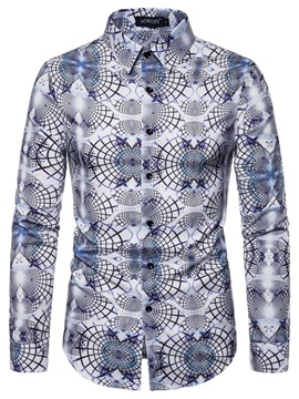 Fashion Floral Print Lapel Color Block Men's Shirt