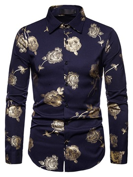 Fashion Print Floral Lapel Slim Men's Shirt