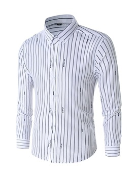 Stripe Lapel Casual Print Single-Breasted Men's Shirt