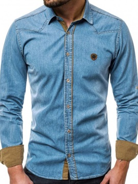 Button Lapel Casual Men's Denim Shirt