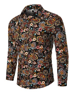 Lapel Ethnic Floral Button Men's Shirt