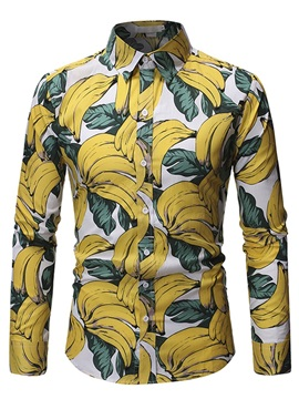 Plant Print Button Lapel Slim Men's Shirt