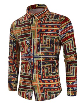 Color Block Ethnic Print Button Slim Men's Shirt