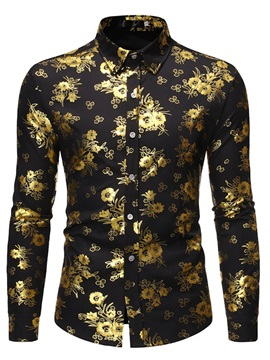 Lapel Button Floral Slim Men's Shirt