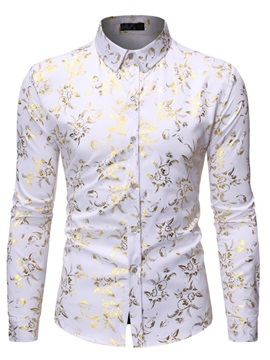 Lapel Color Block Floral Print Long Sleeve Men's Shirt