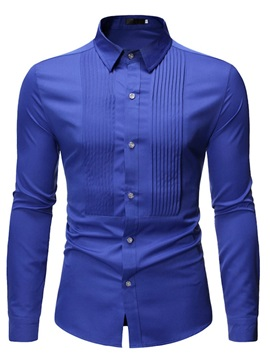 Lapel Pleated Plain Button Men's Shirt