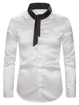 Color Block Stand Collar Men's Shirt