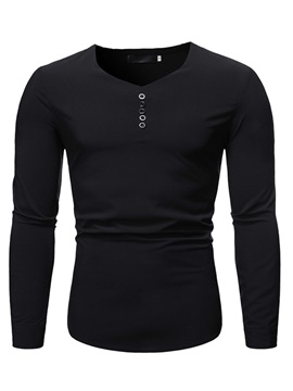 Button Plain Fashion V-Neck Slim Men's Shirt
