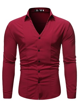 Lapel Button V-Neck Plain Men's Shirt