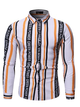 Casual Button Lapel Stripe Single-Breasted Men's Shirt
