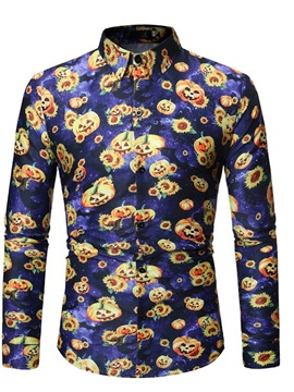 Lapel Casual Floral Print Spring Men's Halloween Costume Shirt