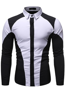 Button Color Block Lapel Fashion Slim Men's Shirt
