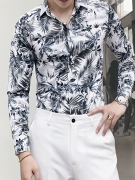 Korean Print Lapel Plant Loose Men's Shirt