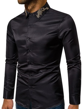 Lapel Button Color Block Single-Breasted Men's Shirt