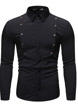 Lapel Button Casual Plain Slim Men's Shirt
