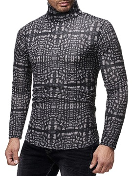 Color Block Print Turtleneck Casual Slim Men's Shirt