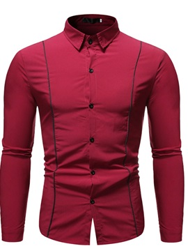 Button Color Block Lapel Casual Slim Single-Breasted Men's Shirt
