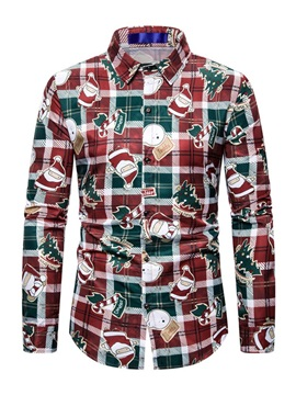Christmas Print Cartoon Casual Lapel Slim Men's Shirt