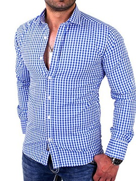 Casual Style Plaid Lapel Button Slim Men's Shirt