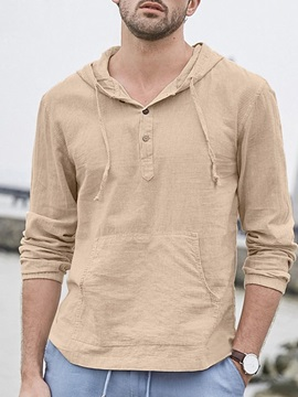 Hooded European Plain Pocket Loose Style Men's Shirt