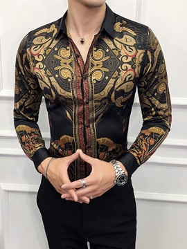 Print Casual Style Lapel Single-Breasted Men's Shirt