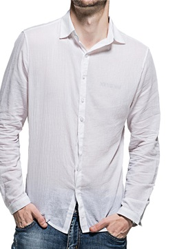 Lapel Plain Casual Style Single-Breasted Men's Shirt
