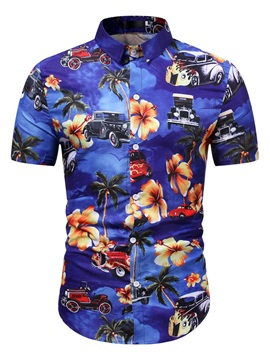 Lapel Print Casual Summer Men's Shirt