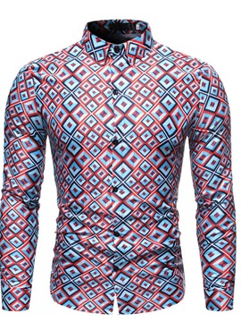 Print Lapel Single-Breasted Men's Shirt