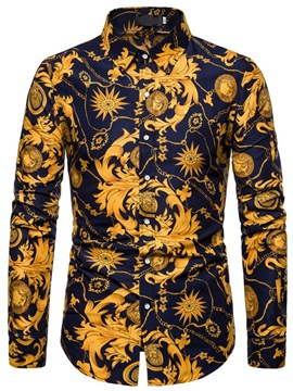 European Lapel Print Floral Single-Breasted Men's Shirt