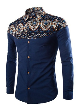 Floral Lapel Print Ethnic Single-Breasted Men's Shirt