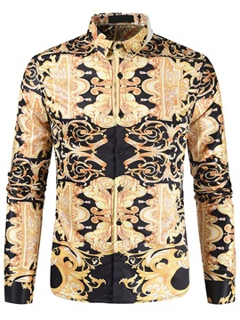 European Lapel Floral Print Slim Men's Shirt