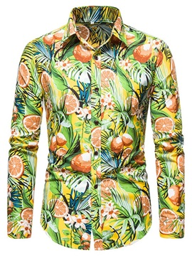 Print Floral Lapel Casual Slim Men's Shirt