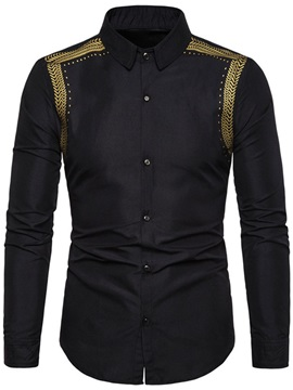 European Print Lapel Fall Men's Shirt