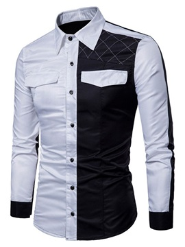 Patchwork Color Block Lapel Casual Single-Breasted Men's Shirt