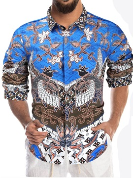 European Floral Print Lapel Single-Breasted Men's Shirt