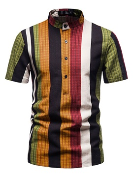 Stand Collar Stripe Summer Men's Shirt