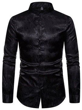 Button Plain Stand Collar Single-Breasted Men's Shirt