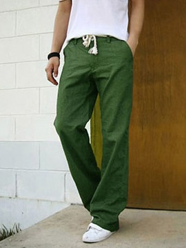 Flax Mid-waist Straight Men's Casual Pants