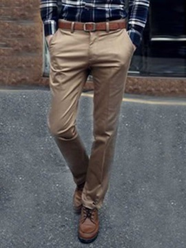 Men's Loose Solid Color Straight Cotton Blend Casual Pants