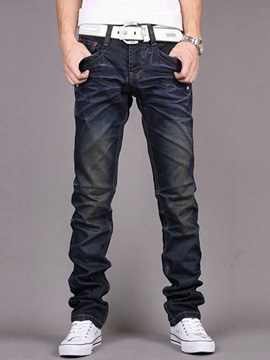 Slim Fit Straight Big Pockets Men's Denim Pants